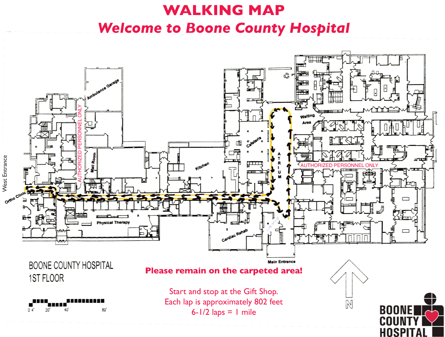 Walking Map for Boone County Hospital.